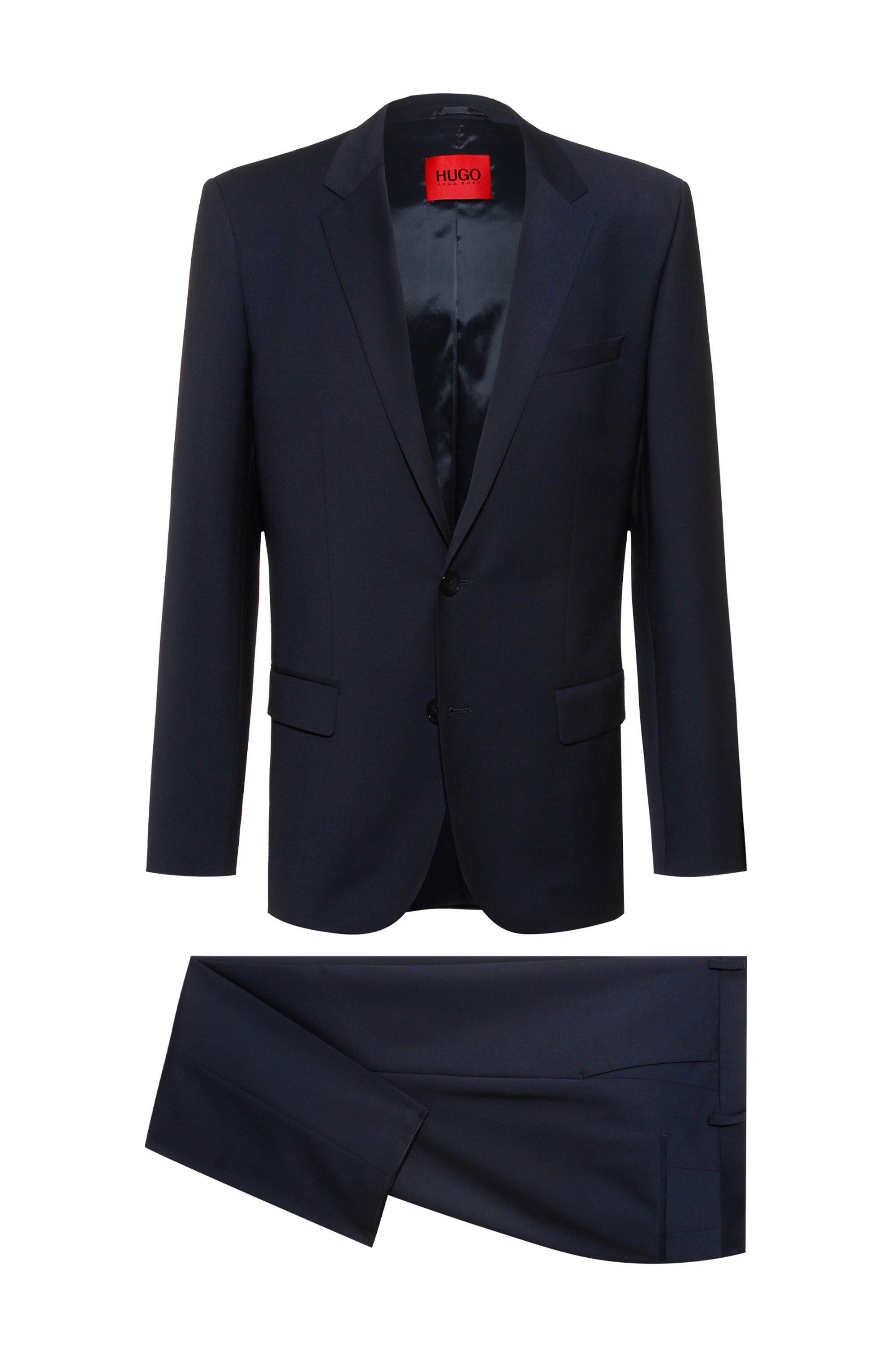 Slim-fit suit in wool-rich performance-stretch cloth, Dark Blue