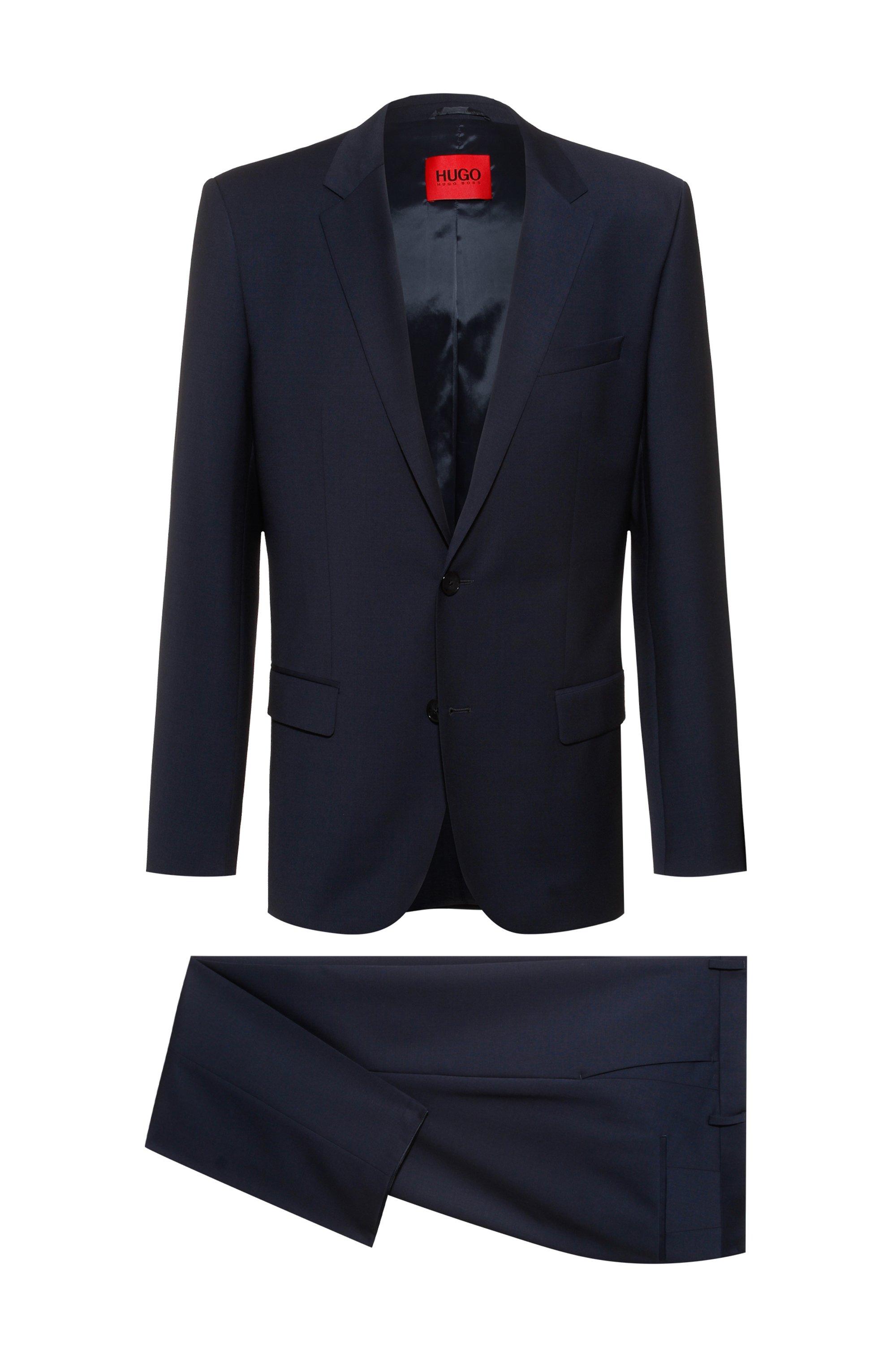 Slim-Fit Anzug aus Funktionsgewebe mit Schurwolle, Dunkelblau