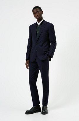 Slim-fit pak van wolrijk performancemateriaal met stretch, Donkerblauw