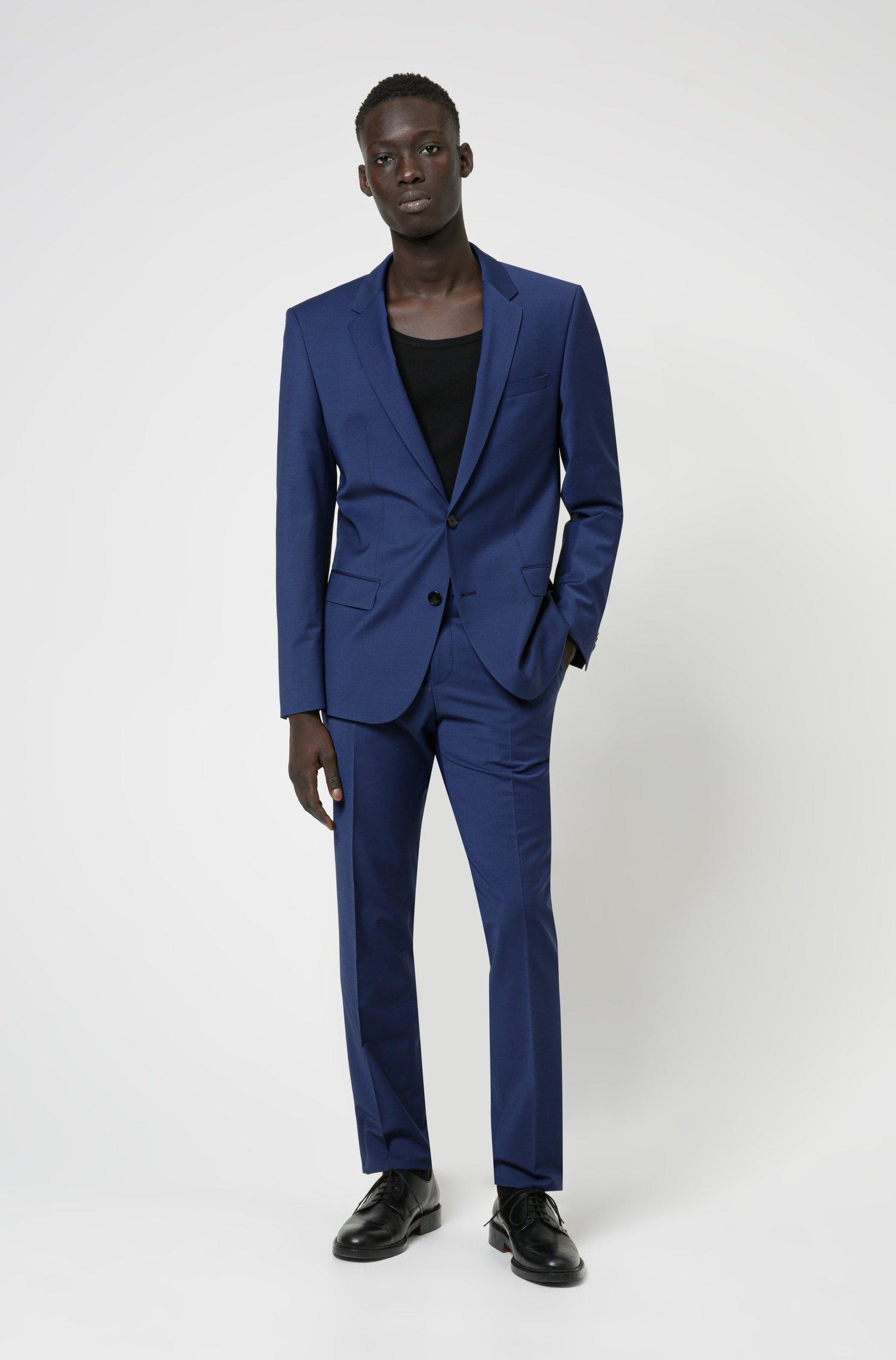 Slim-fit suit in wool-rich performance-stretch cloth, Dark Blue