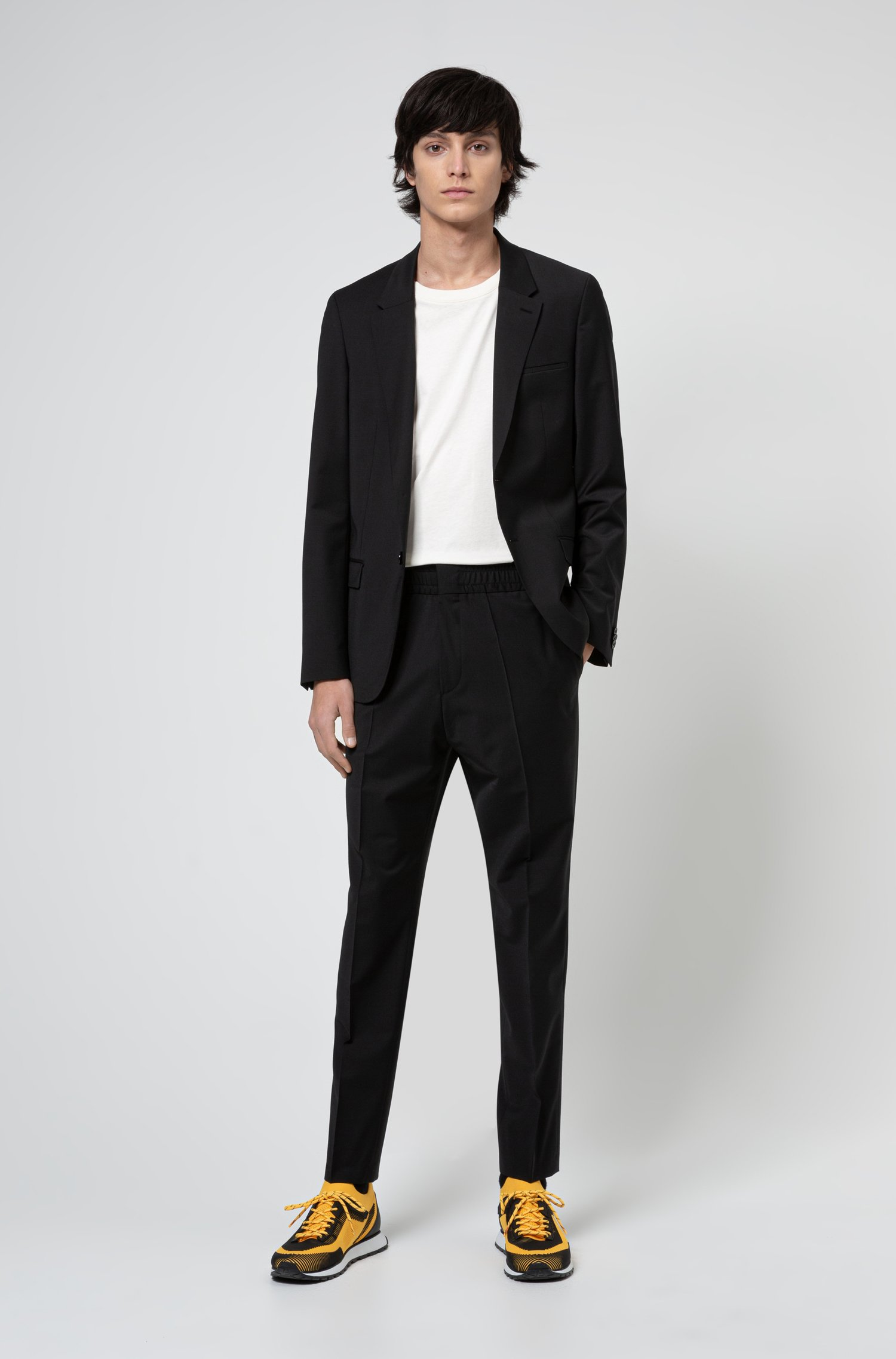 Extra-slim-fit suit in performance-stretch cloth, Black