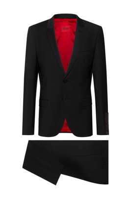 Extra-slim-fit suit in a super-flex wool blend, Black