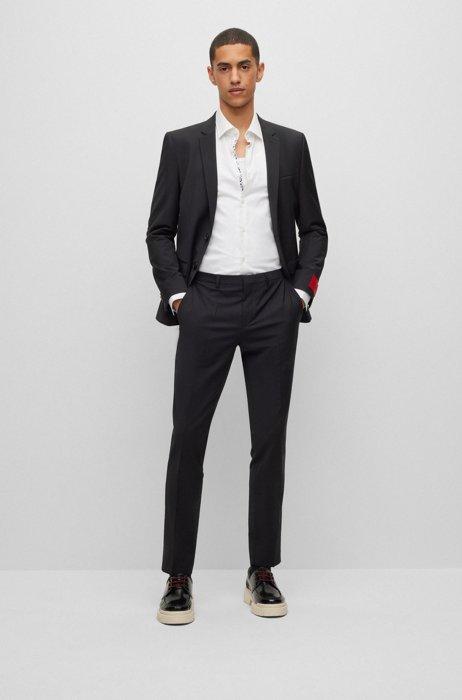 Extra-slim-fit suit in a super-flex wool blend, Black