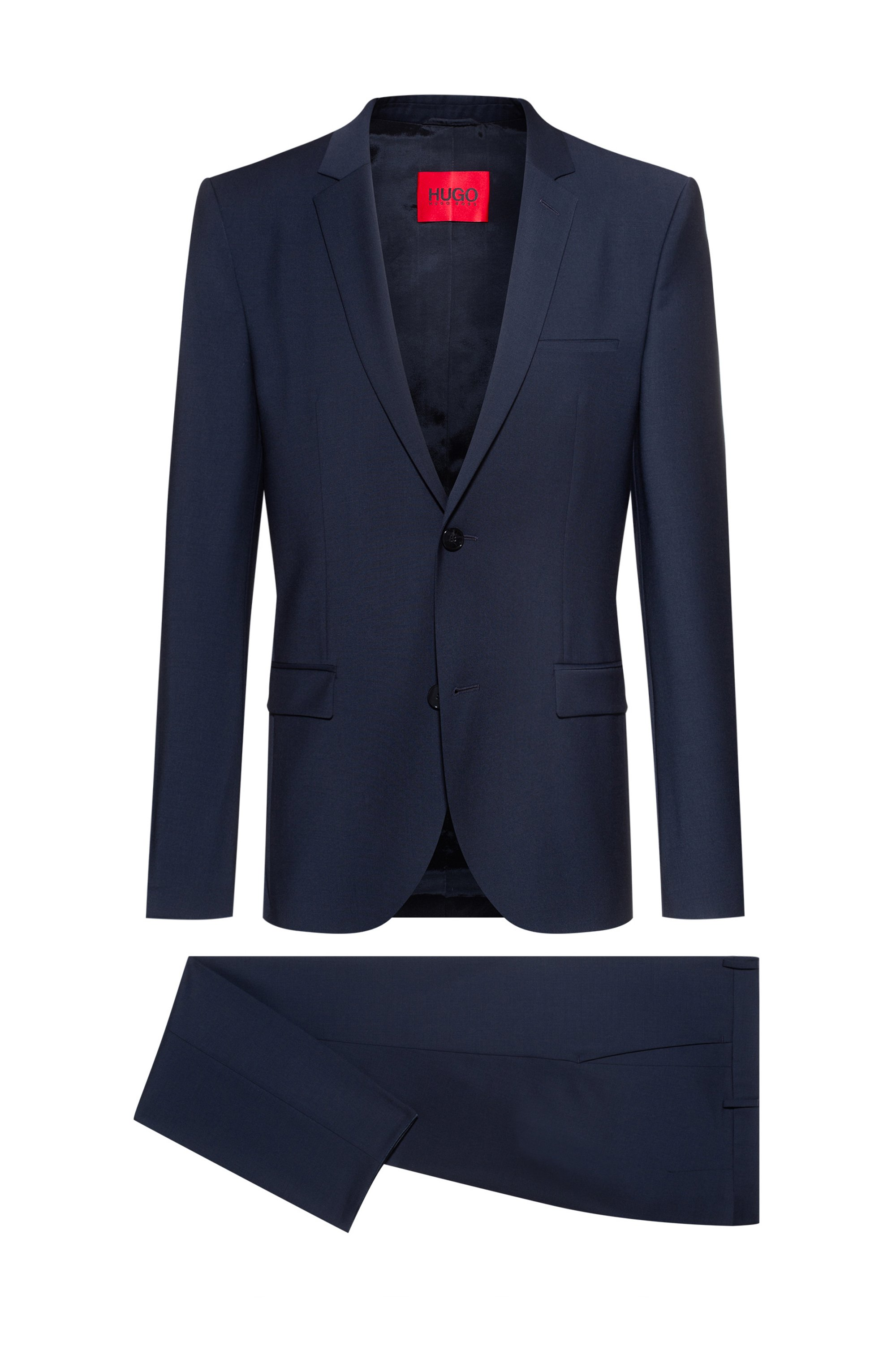 Extra-slim-fit suit in a super-flex wool blend, Dark Blue