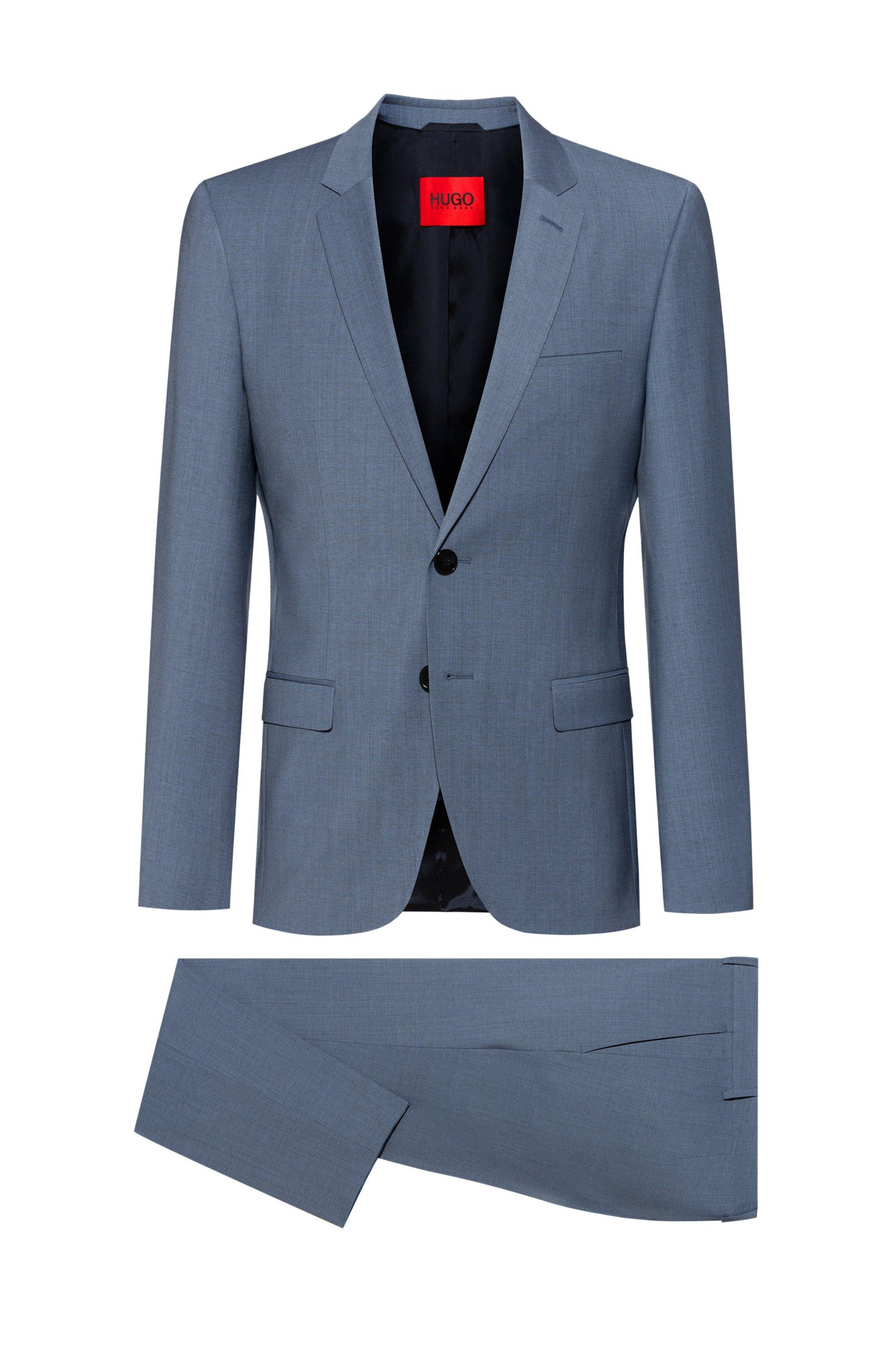 Extra-slim-fit suit in a super-flex wool blend, Blue