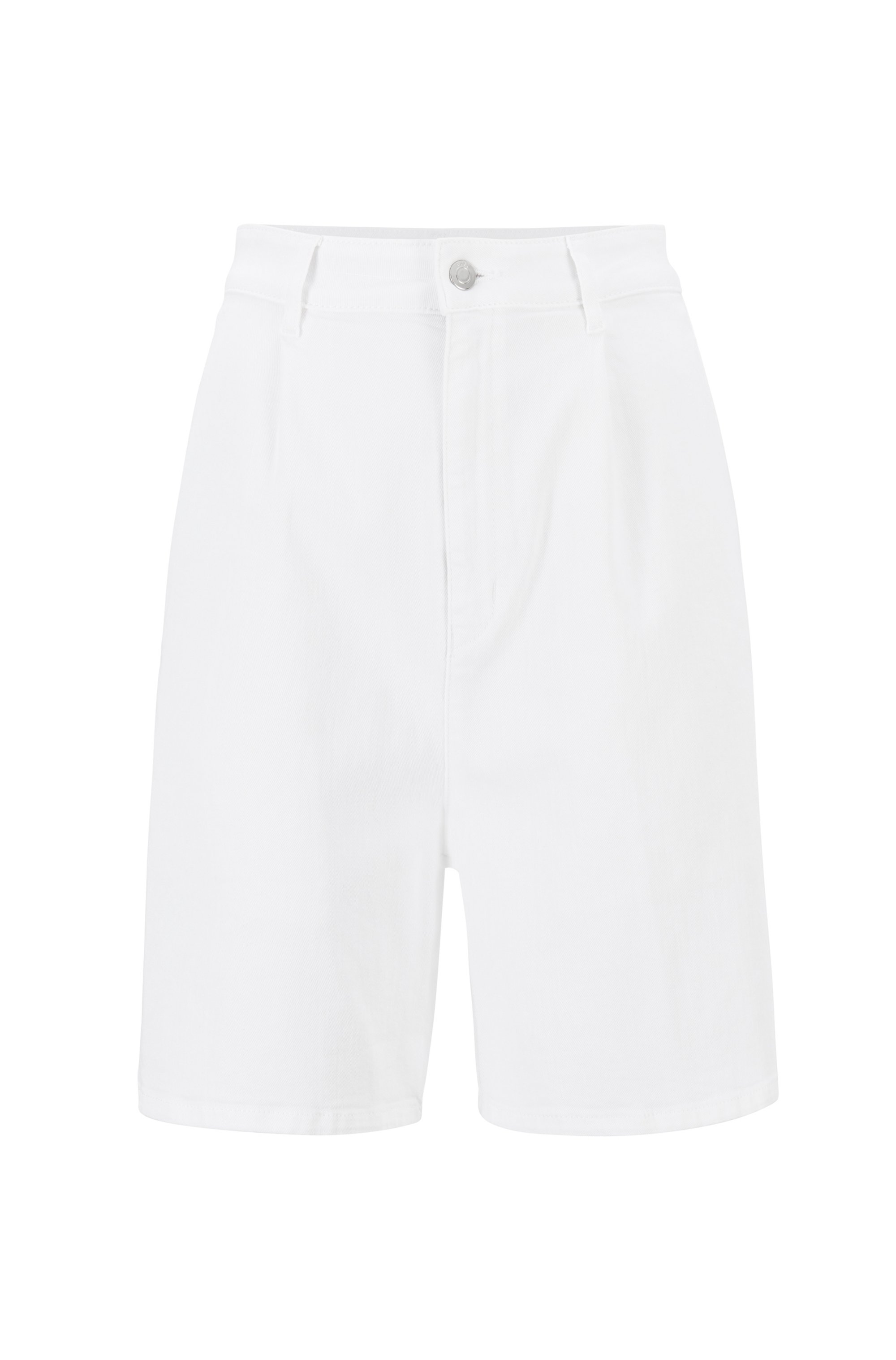 Relaxed-fit shorts in cashmere-touch stretch denim, White