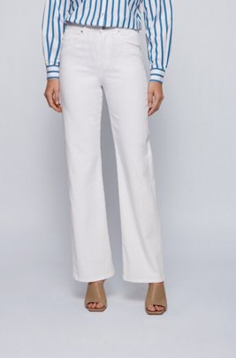 Wide-leg regular-fit jeans in cashmere-touch denim, White