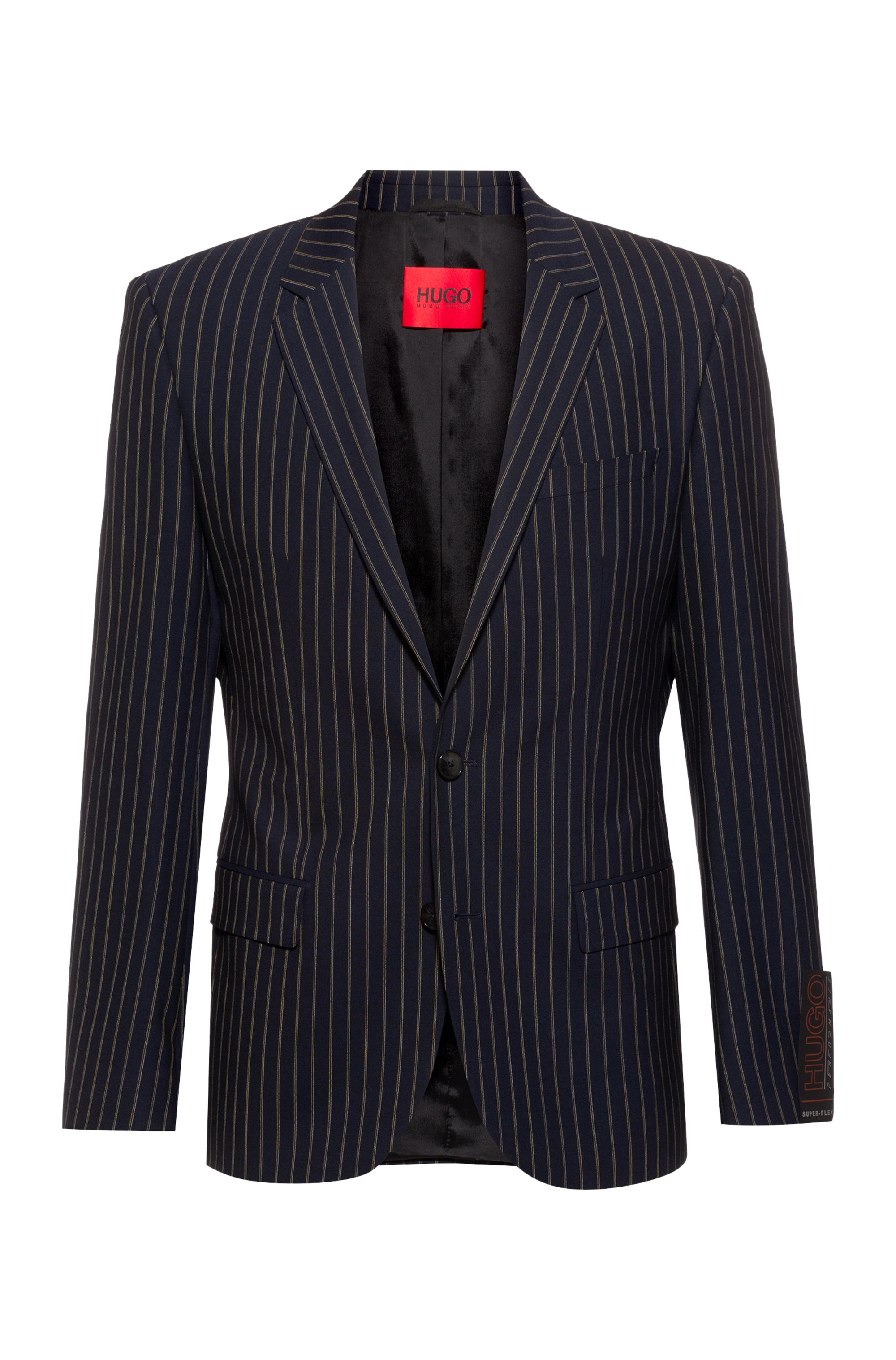 Pinstripe slim-fit jacket in super-flex tropical wool, Dark Blue