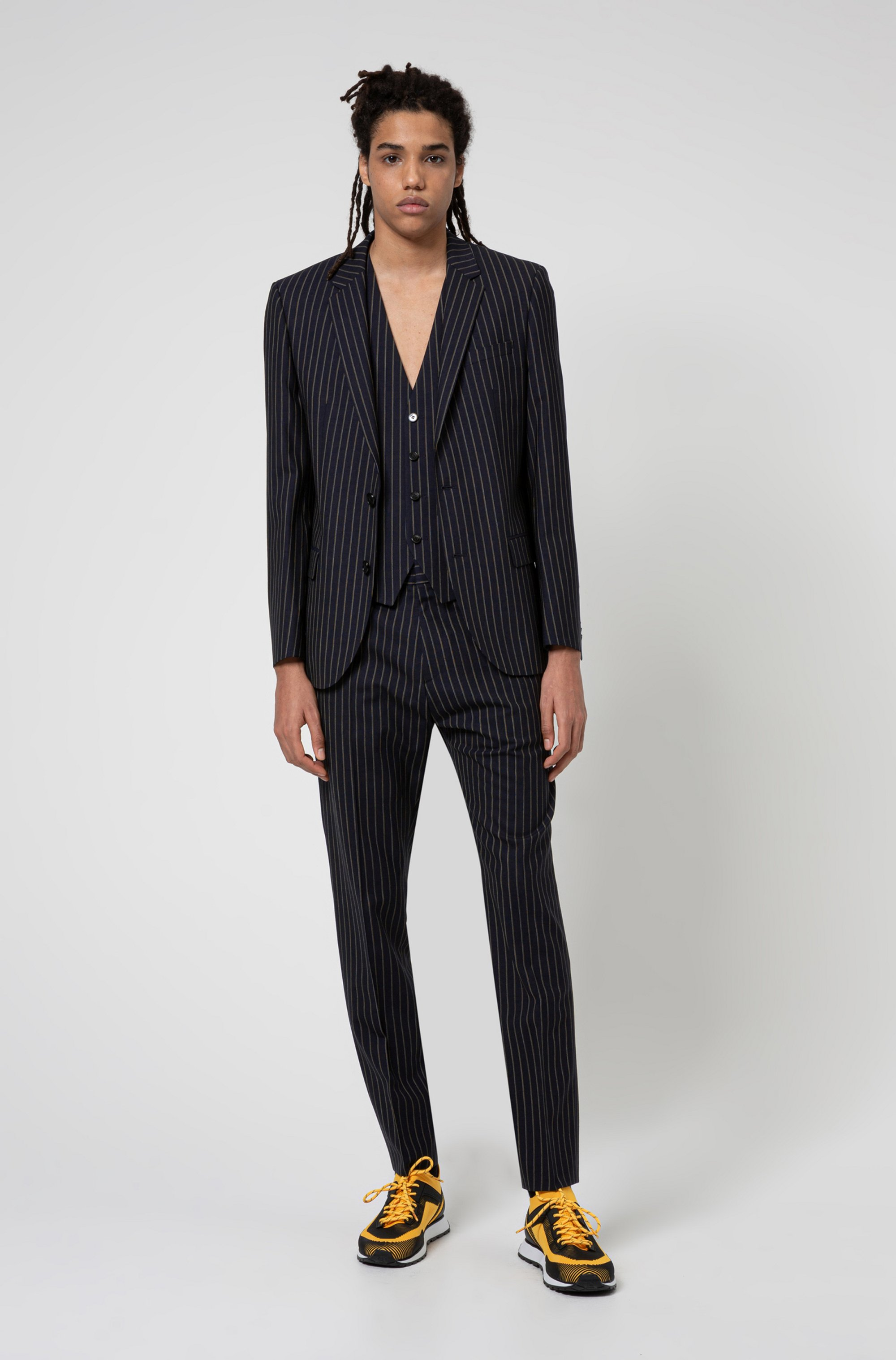 Pinstripe slim-fit jacket in super-flex tropical wool