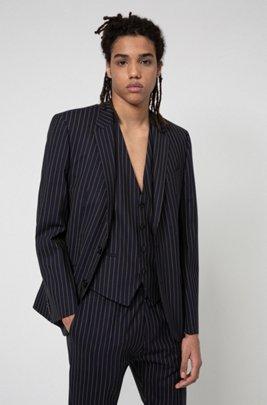 Pinstripe slim-fit jacket in super-flex tropical wool, Dark Blue
