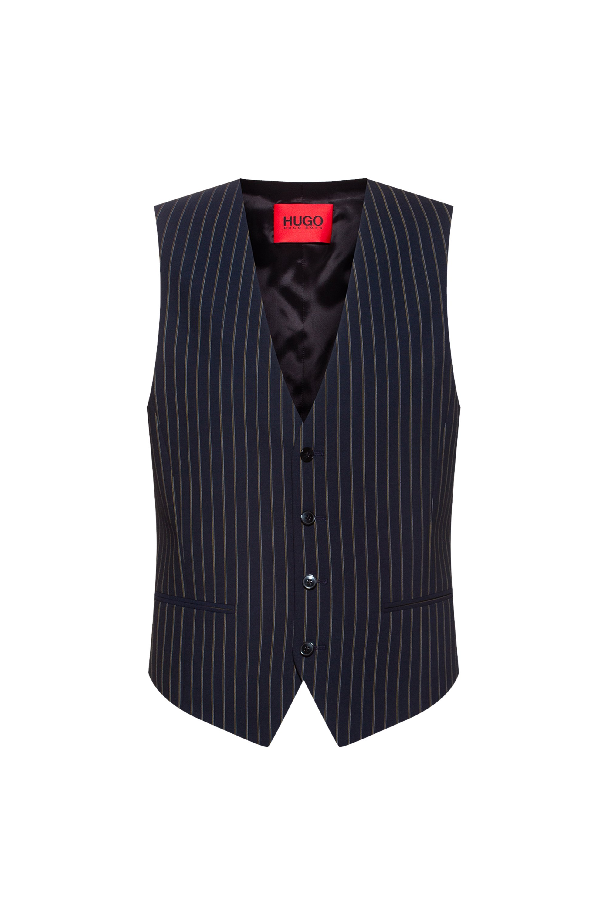 Slim-fit waistcoat in pinstripe stretch virgin wool, Dark Blue
