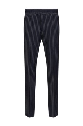 Extra-slim-fit pinstripe trousers in stretch virgin wool, Dark Blue