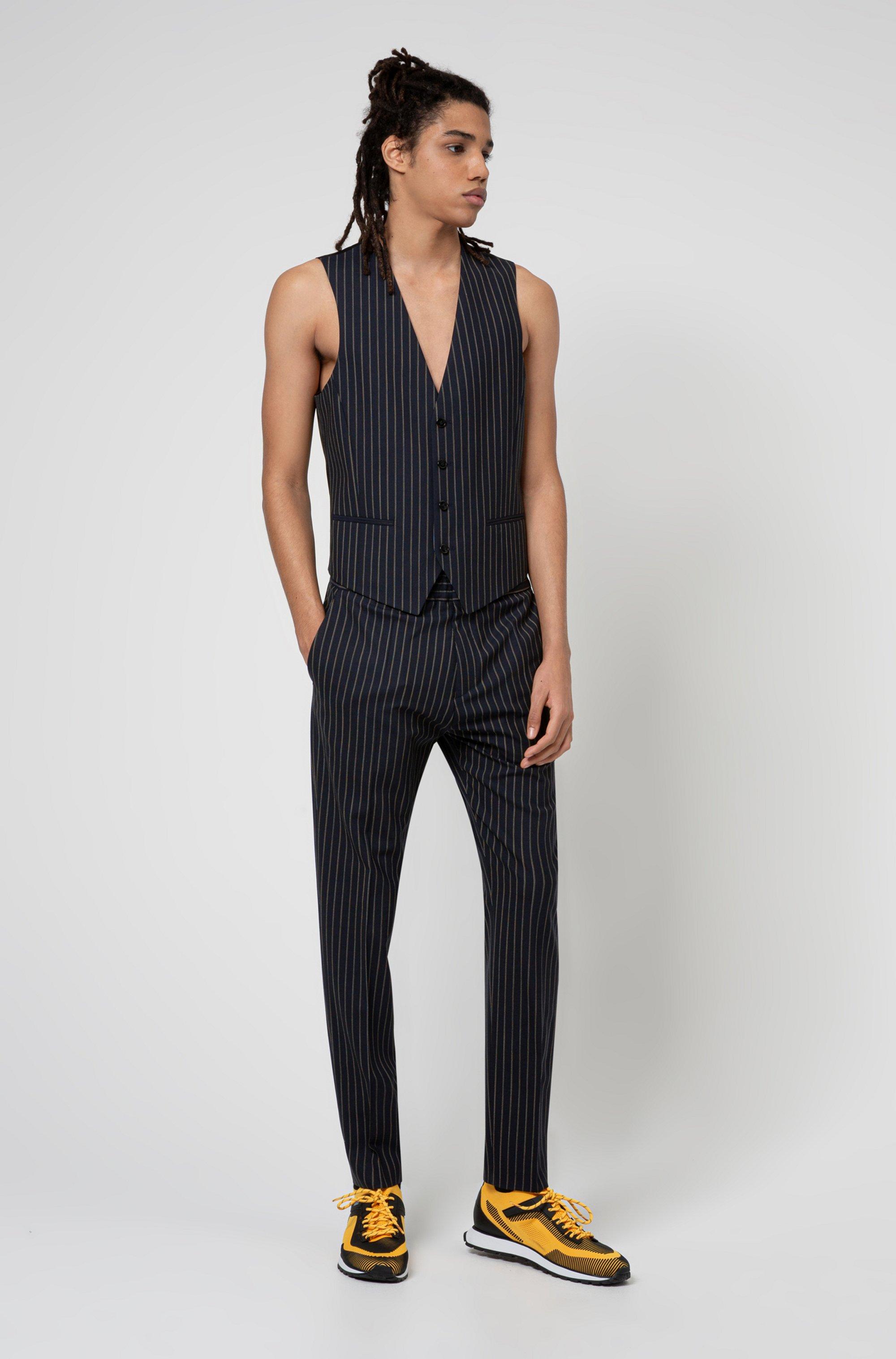 Extra-slim-fit pinstripe trousers in stretch virgin wool