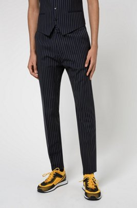 Extra-slim-fit pinstripe trousers in stretch virgin wool, Dark Blue