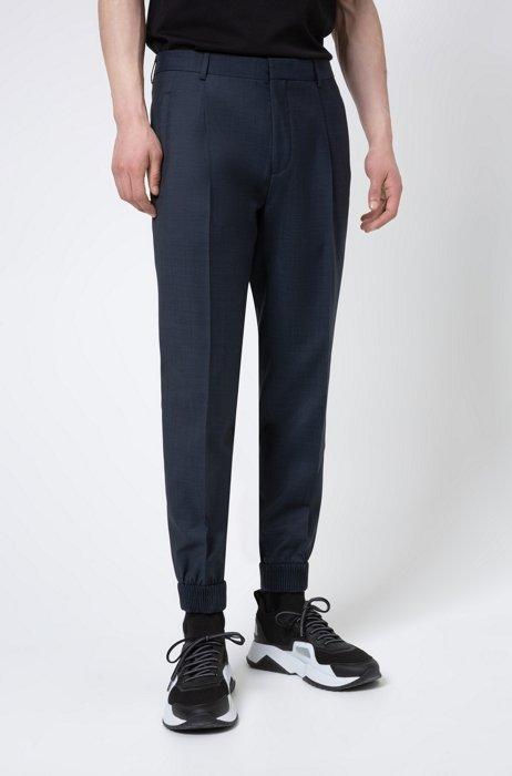 Extra-slim-fit pants in a patterned wool blend, Dark Blue