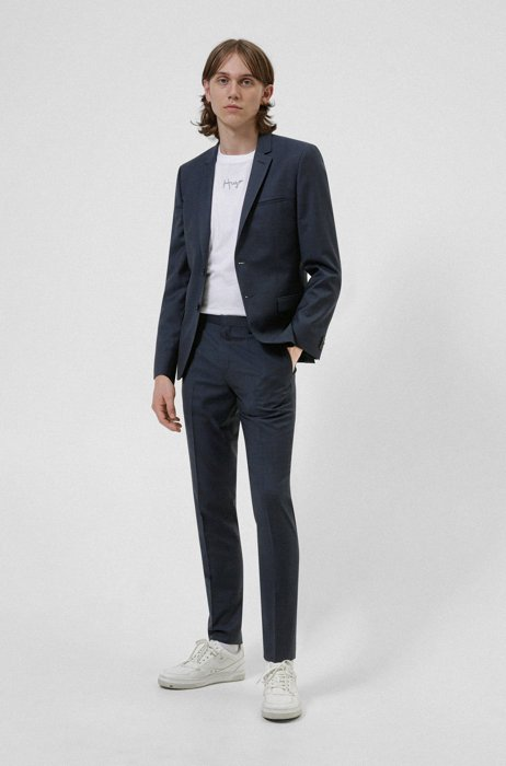 Extra-slim-fit suit in patterned wool-blend twill, Dark Blue