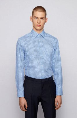 Flower-print slim-fit shirt with aloe vera finishing, Blue Patterned