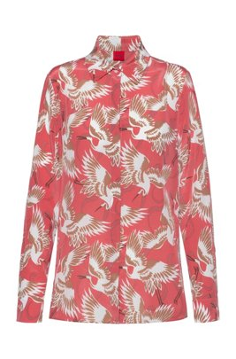 Crane-print blouse in pure sand-washed silk, Patterned