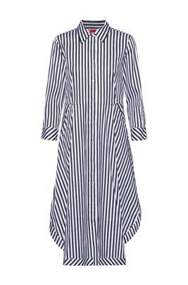 Striped shirt dress in a cotton blend, Light Blue