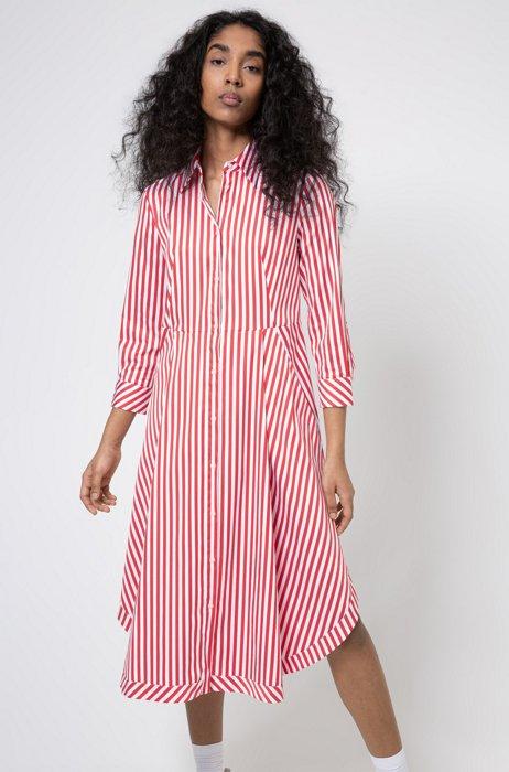 Striped shirt dress in a cotton blend, light pink