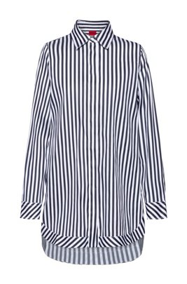 Oversized-fit blouse in striped stretch-cotton satin, Light Blue