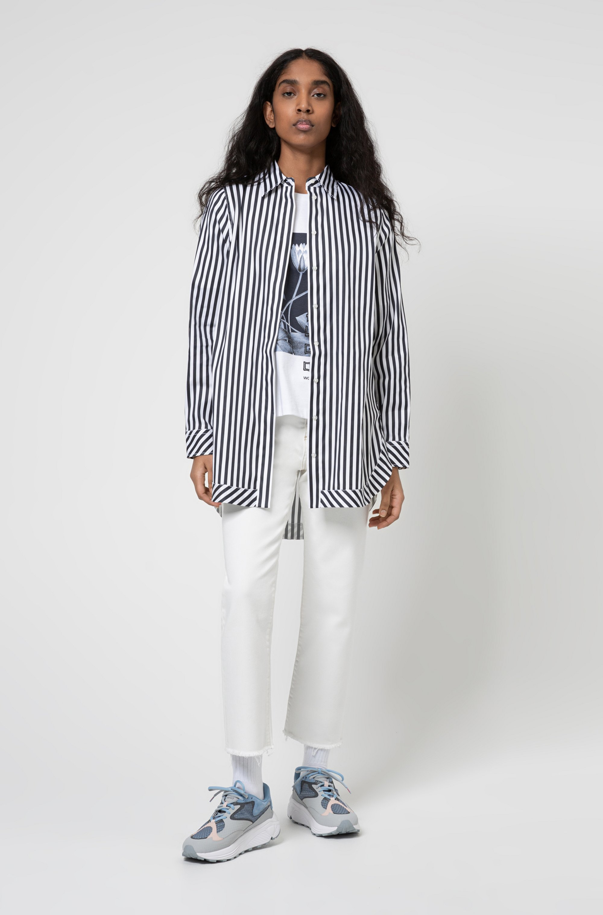 Oversized-fit blouse in striped stretch-cotton satin