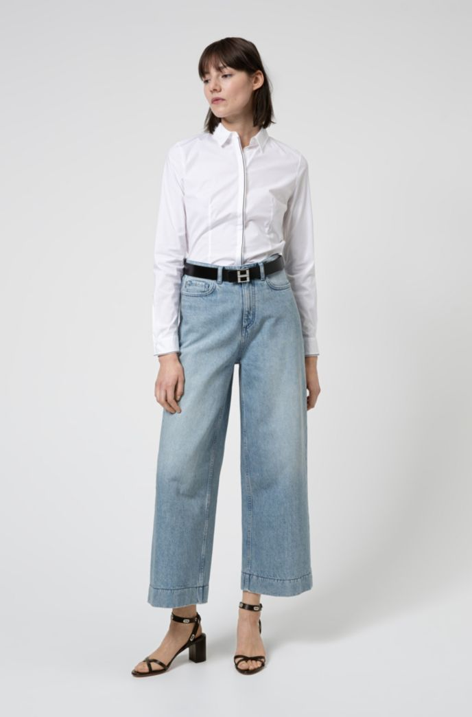 Slim-fit blouse in stretch cotton with contrast piping