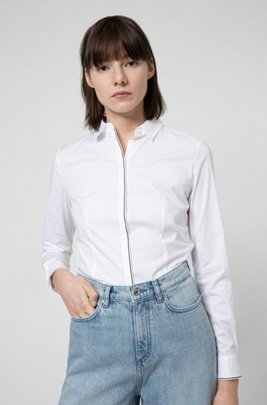 Slim-fit blouse in stretch cotton with contrast piping, White