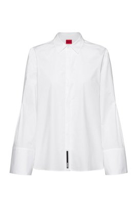 Relaxed-fit blouse in stretch cotton with wide sleeves, White