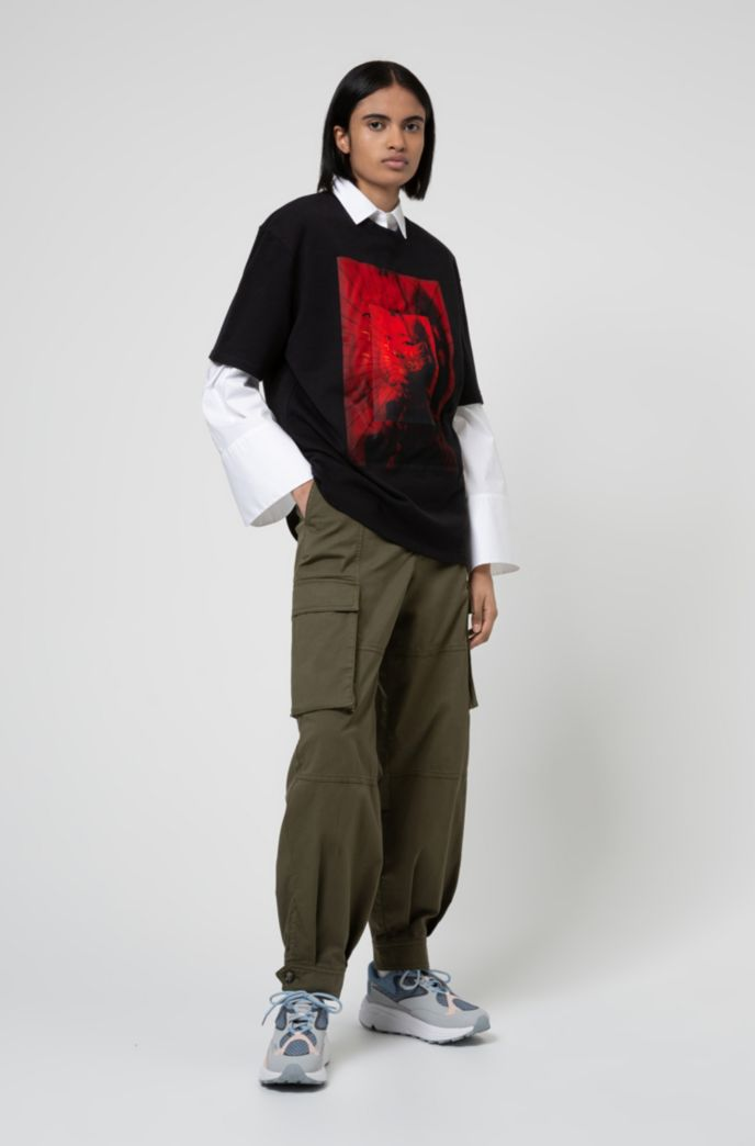 Relaxed-fit blouse in stretch cotton with wide sleeves