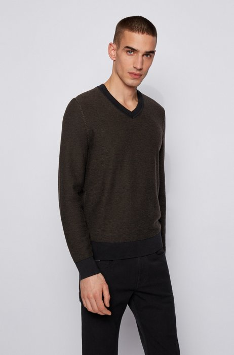 Cotton V-neck sweater with two-tone structure, Black