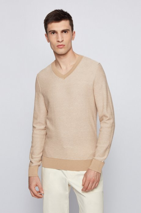 Cotton V-neck sweater with two-tone structure, Beige