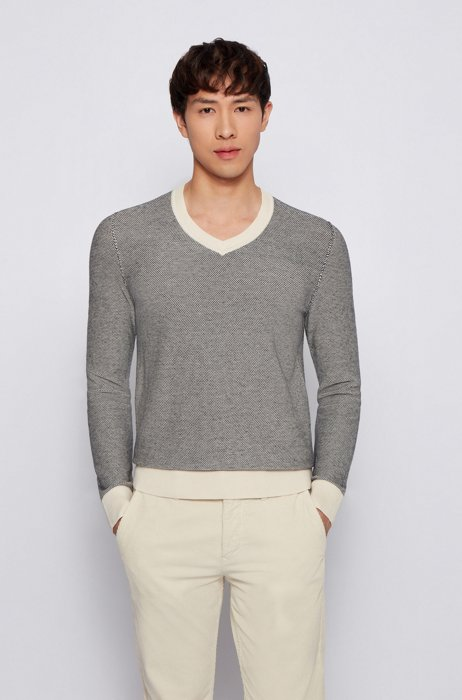 Cotton V-neck sweater with two-tone structure, Grey