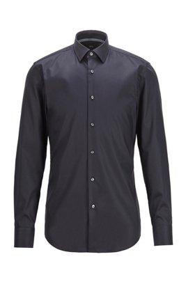 Easy-iron slim-fit shirt in cotton poplin, Dark Blue