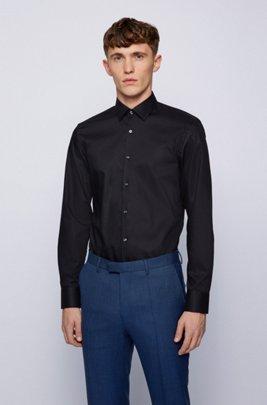 Slim-fit overhemd in een popeline van gemakkelijk te strijken katoen, Donkerblauw