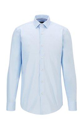 Slim-fit overhemd in een popeline van gemakkelijk te strijken katoen, Lichtblauw