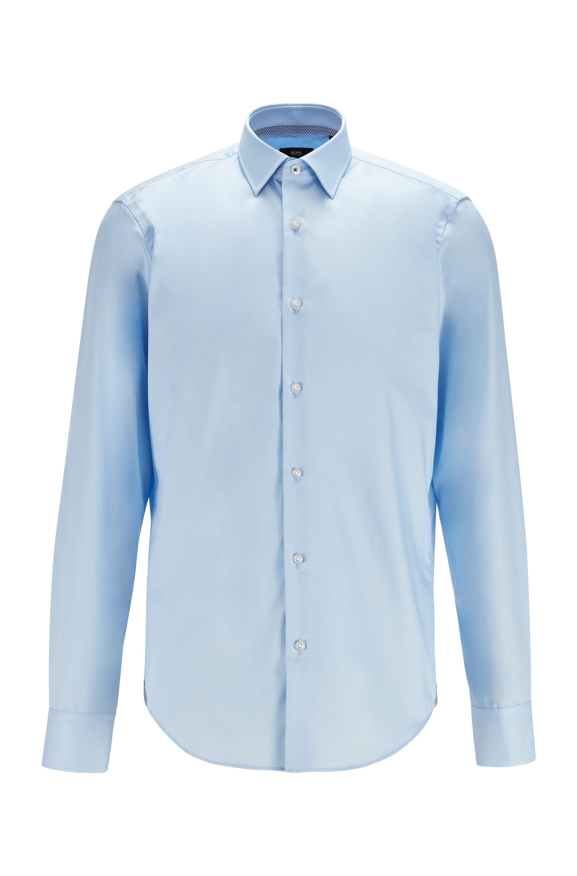 Regular-fit overhemd in een popeline van gemakkelijk te strijken katoen, Lichtblauw