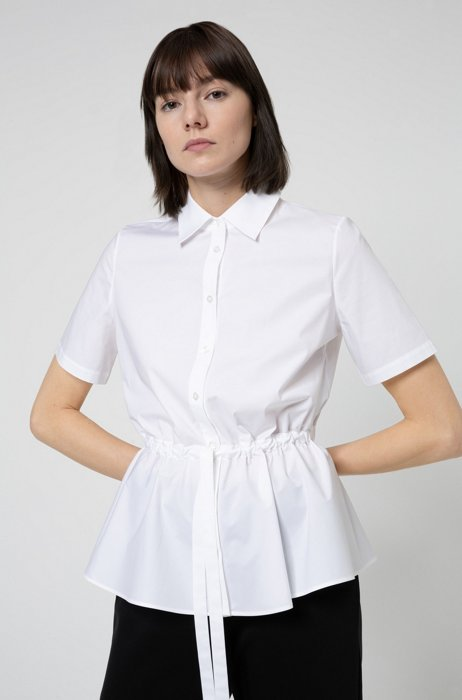 Short-sleeved blouse in stretch cotton with adjustable waist, White