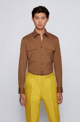 Easy-iron slim-fit shirt in performance-stretch fabric, Beige