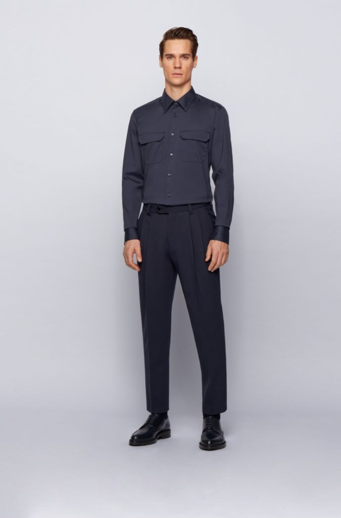Easy-iron slim-fit shirt in performance-stretch fabric