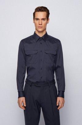 Easy-iron slim-fit shirt in performance-stretch fabric, Dark Blue