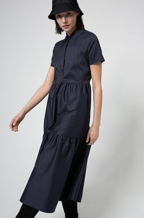 Cotton-blend shirt dress with ruffle skirt, Dark Blue