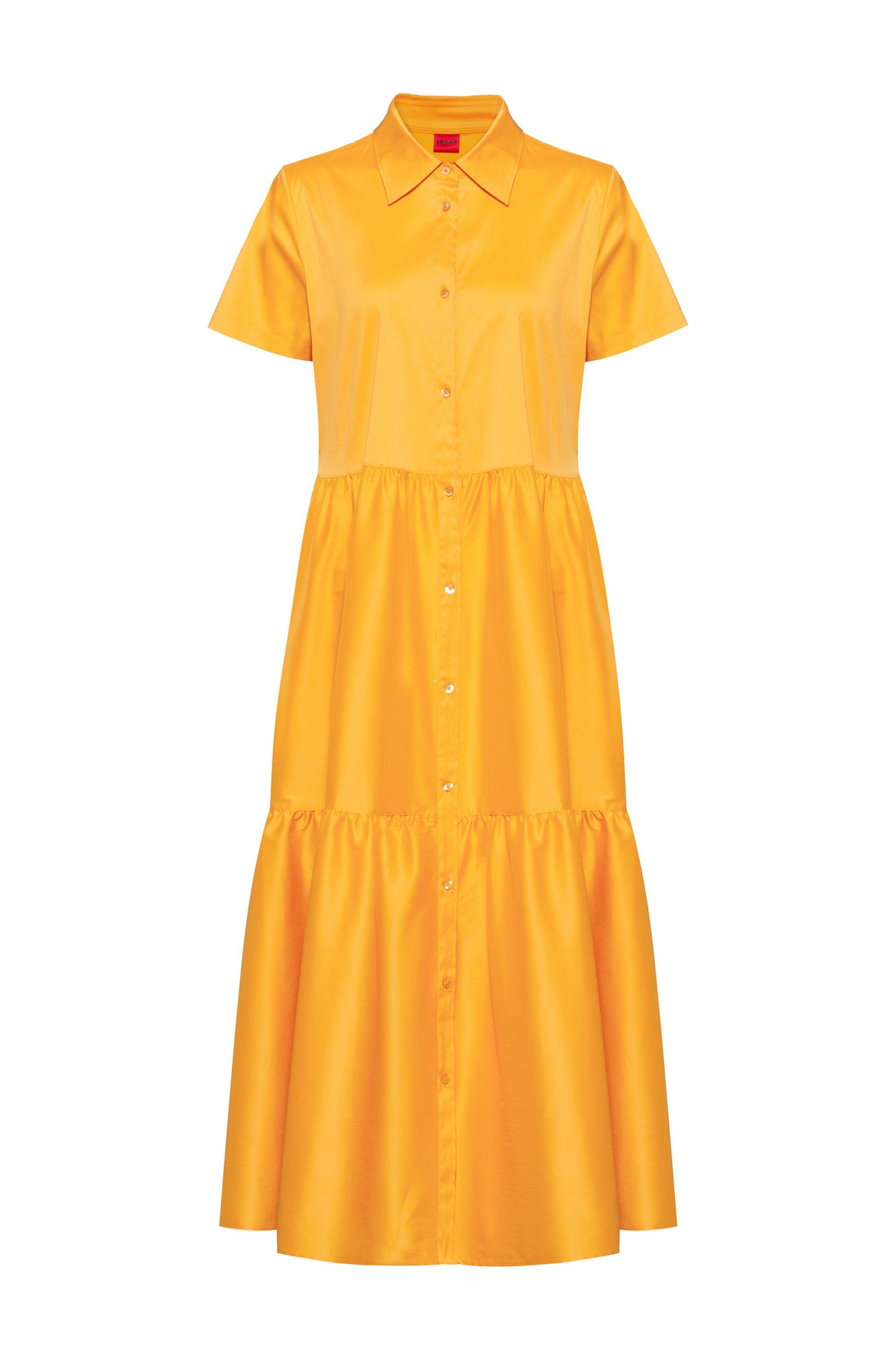 Hemdblusenkleid aus Baumwoll-Mix mit Rüschenrock, Gelb