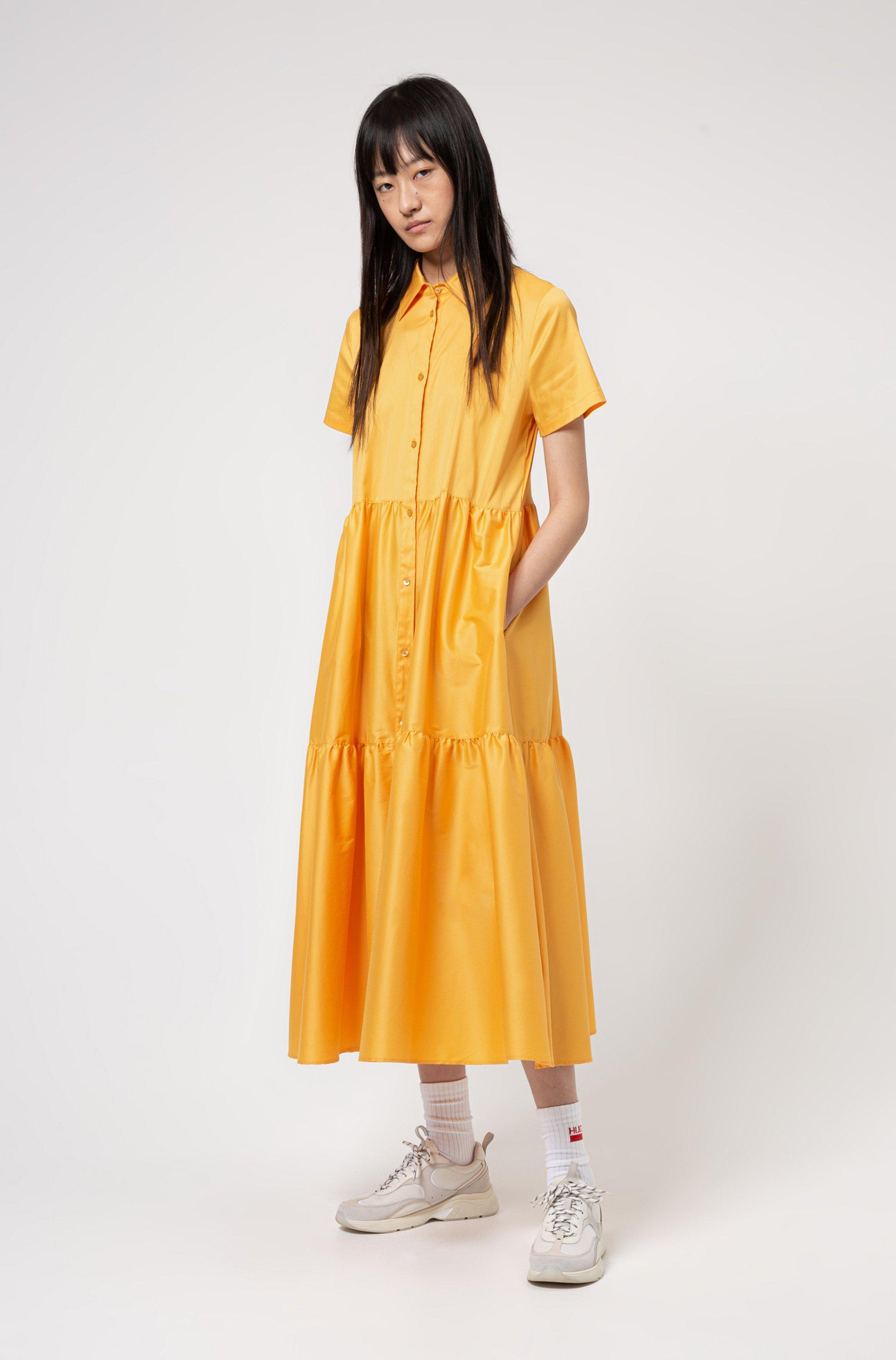 Hemdblusenkleid aus Baumwoll-Mix mit Rüschenrock