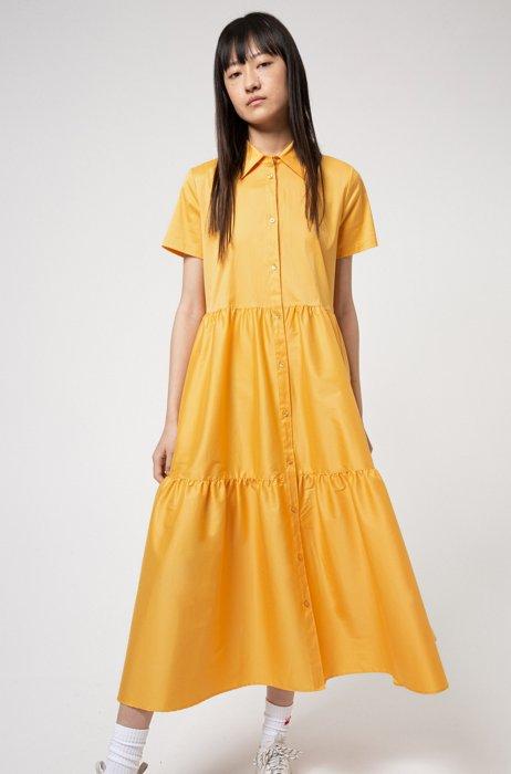 Cotton-blend shirt dress with ruffle skirt, Yellow
