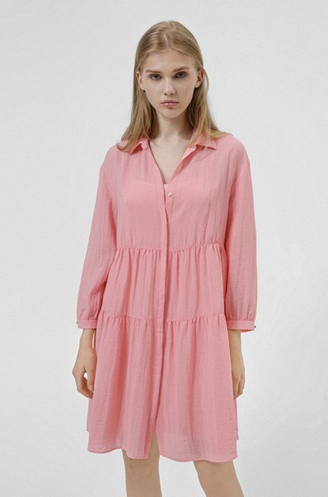 Tiered blouse dress with hidden placket, Pink