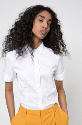 Chemise Slim Fit en coton mélangé facile à repasser, Blanc