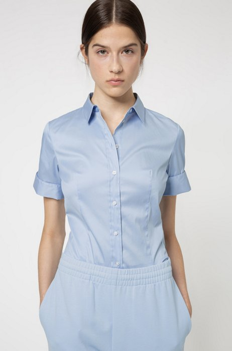 Slim-fit shirt in an easy-iron cotton blend, Light Blue
