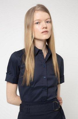Chemise Slim Fit en coton mélangé facile à repasser, bleu clair
