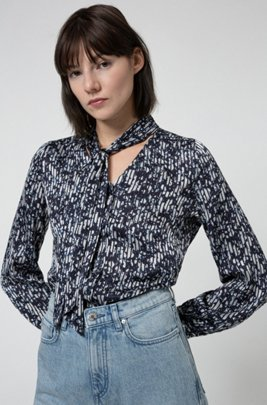 Tie-neck blouse with collection-themed print, Patterned